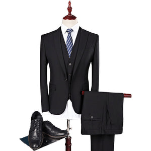 Solid color suit three-piece men's Korean version of the self-cultivation wedding dress business suit