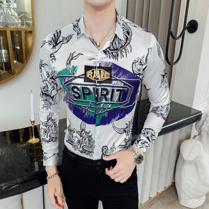 Men's long sleeve printed shirt