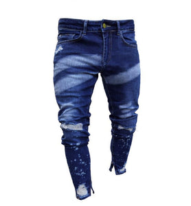 Painted zipper ripped denim pants