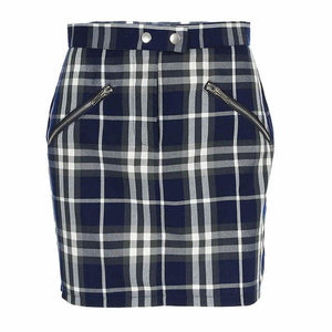 HILLARY PLAID ZIPPER SKIRT