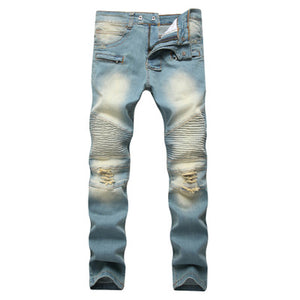 Cross border special for men's zipper, jeans, broken holes, dragging the yellow, nostalgic men, Europe and America high street stretch pants-Seo optimizer Test