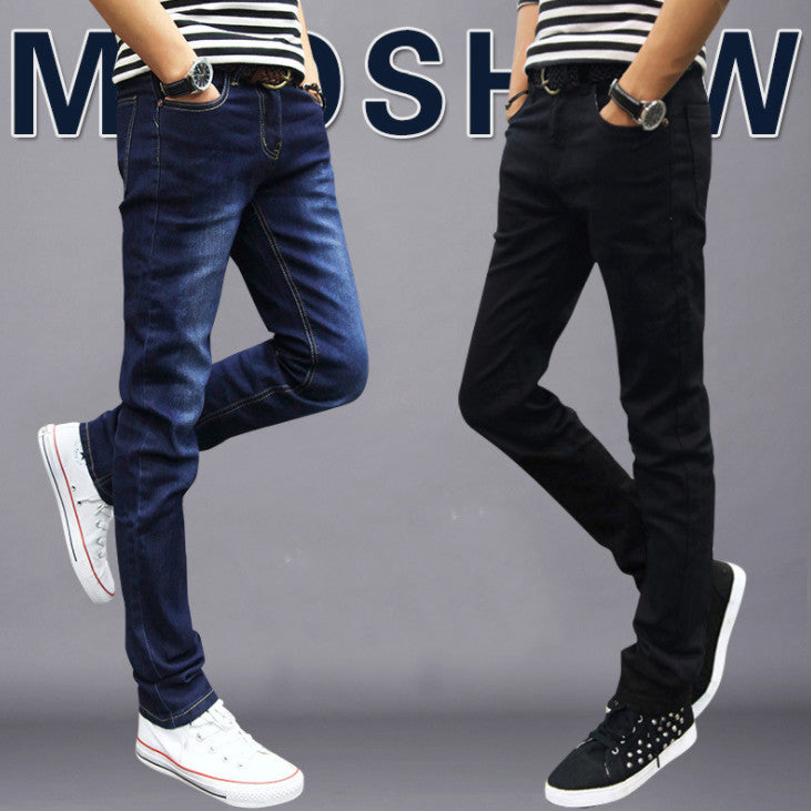 Boys spring jeans male Korean version of the trend of slim feet pants-Seo optimizer Test