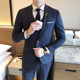 Slim men's single button three-piece suit