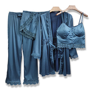 Lace four-piece silk sexy pajamas