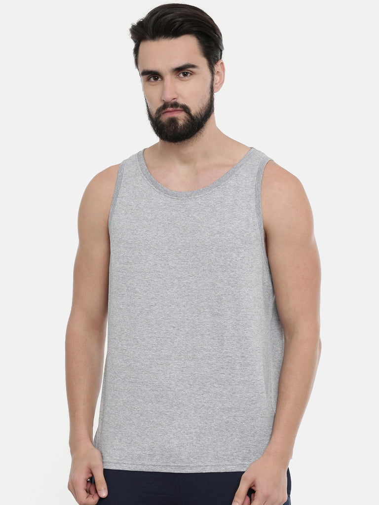 Grey - White Sleeveless T-Shirt