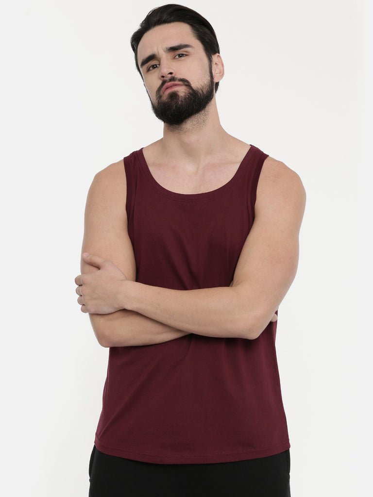 Grey - Maroon Sleeveless T-Shirt