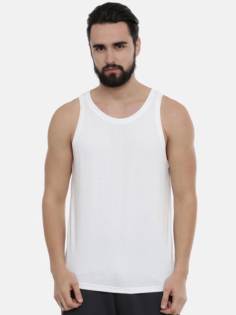 White - Turquoise Blue Sleeveless T-Shirt