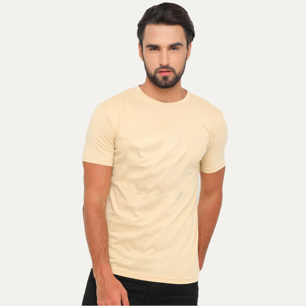 Beige - Black Solid Half Sleeves T-Shirt - Bushirt
