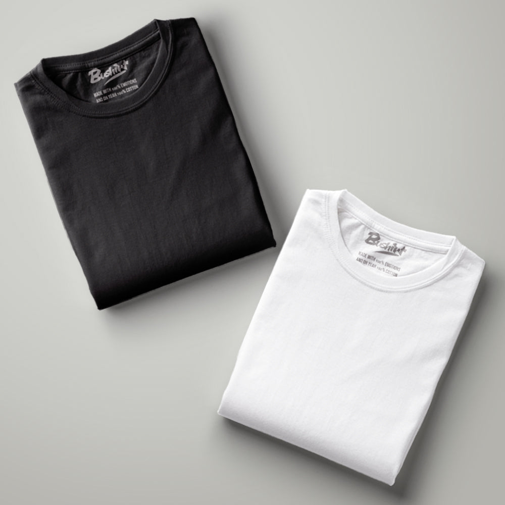 Black - White Solid Half Sleeves T-Shirt