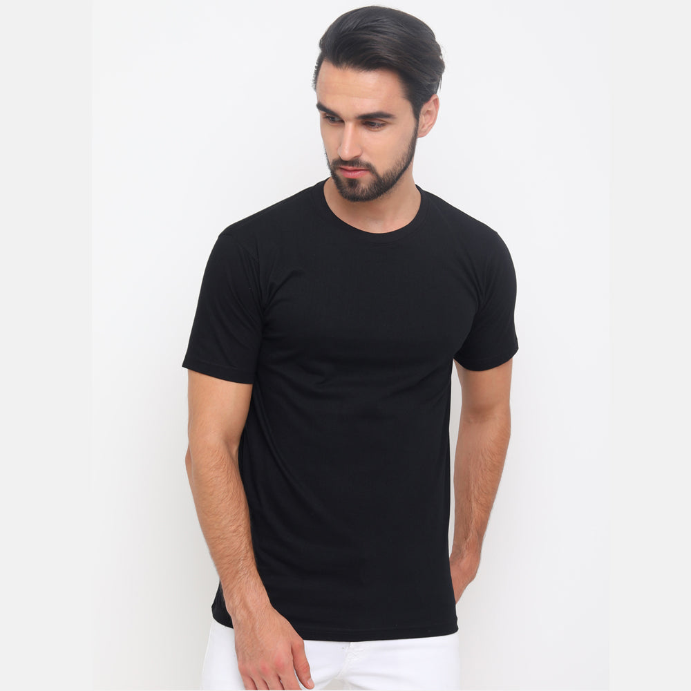 Beige - Black Solid Half Sleeves T-Shirt