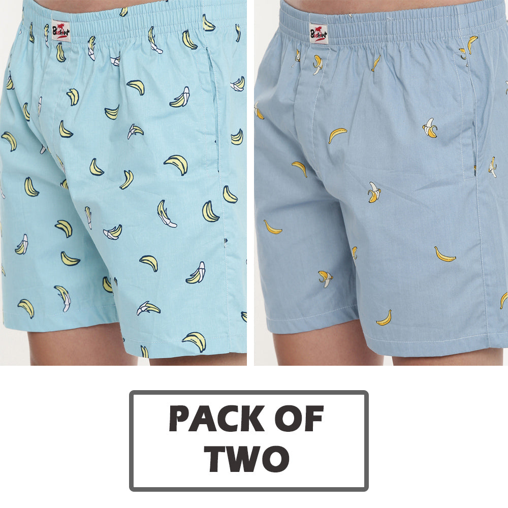 Sky Blue - Grey Printed Boxers