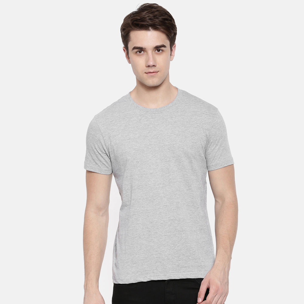 Grey - Navy Blue Solid Half Sleeves T-Shirt