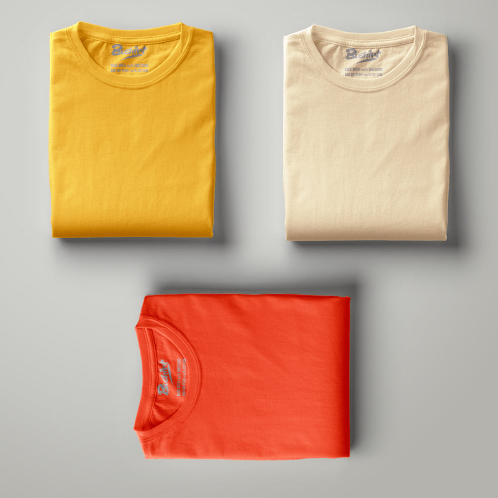 Mustard - Beige - Orange - Solid Half Sleeves T-Shirt