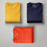 Mustard - Navy Blue - Orange Solid Half Sleeves T-Shirt