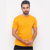 Mustard - Black - White Solid Half Sleeves T-Shirt