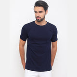 Navy Blue - Cadded Blue Solid Half Sleeves T-Shirt