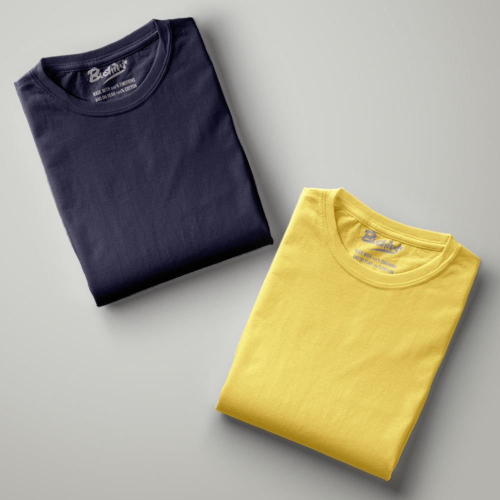 Navy Blue - Yellow Plain Half Sleeves T-Shirt