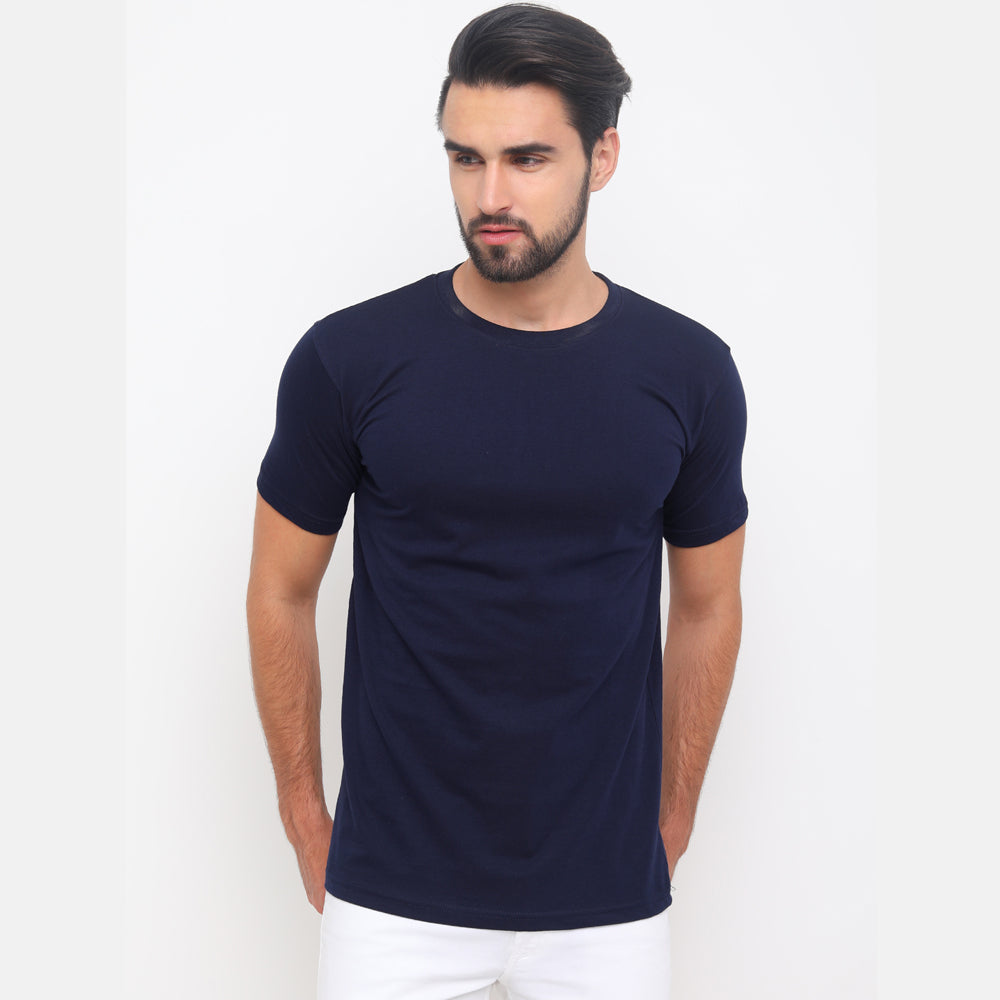 Navy Blue - Yellow Plain T-Shirt
