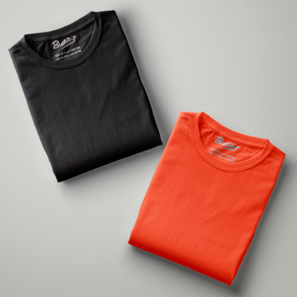 Orange - Black Solid Half Sleeves T-Shirt