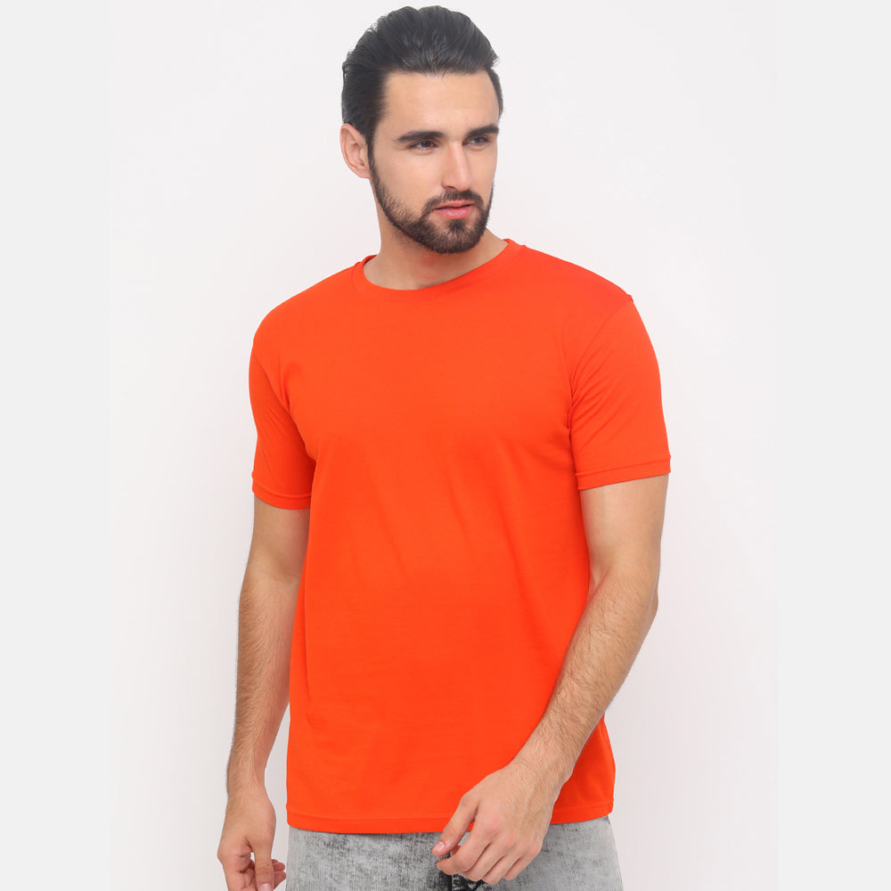 White - Black - Orange Solid Half Sleeves T-Shirt - Bushirt