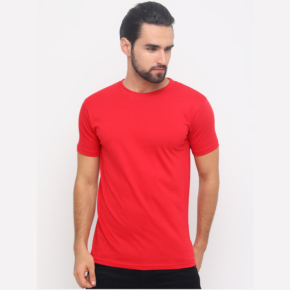Red - Cadded Blue Solid Half Sleeves T-Shirt