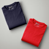 Red - Navy Blue Solid Half Sleeves T-Shirt - Bushirt