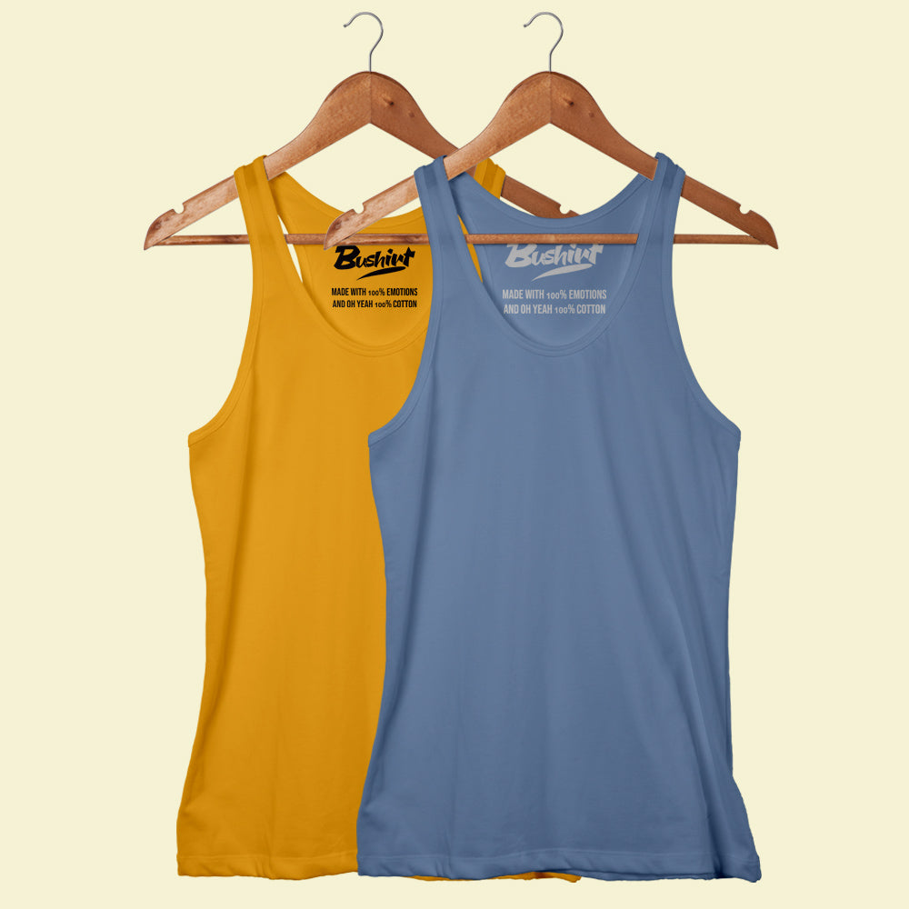 Turquoise Blue - Mustard Sleeveless T-Shirt