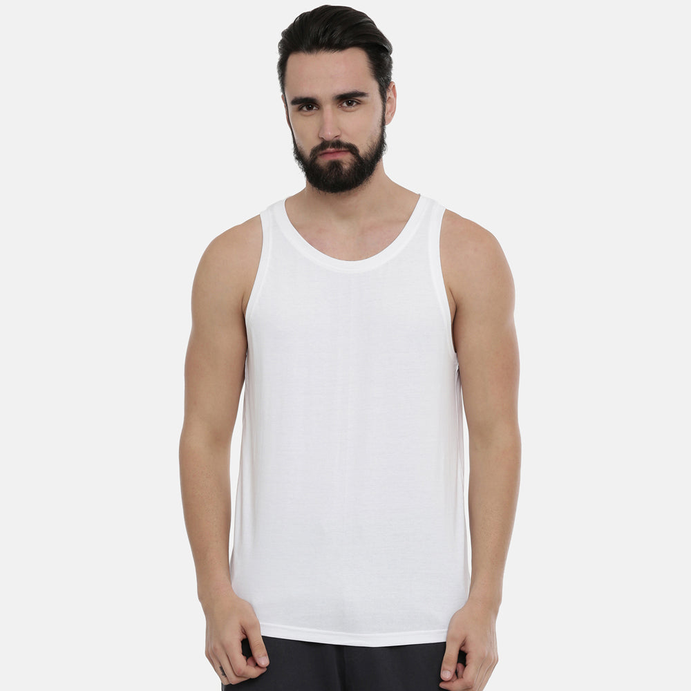 White Sleeveless T-Shirt - Bushirt