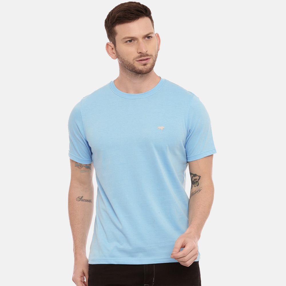 Black - Cadded Blue Solid Half Sleeves T-Shirt