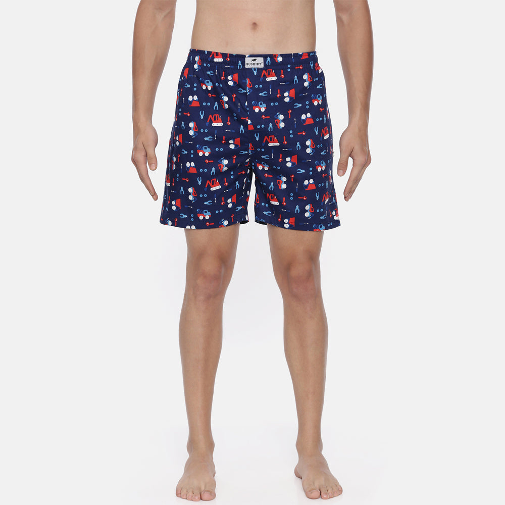 Navy Blue All Over Printed Boxer