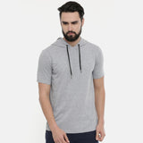 Millange Grey Half Sleeve Hoodies - Bushirt