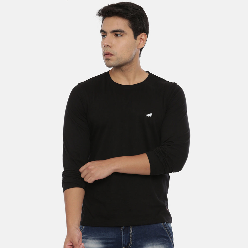 Black Full Sleeves Solid T-Shirt
