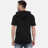 Think Positive Black Half Sleeves Hoodies - Bushirt