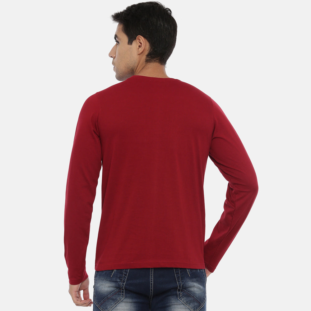 Maroon Full Sleeves Solid T-Shirt