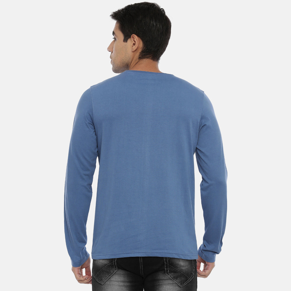 Turquoise Blue Full Sleeves Solid T-Shirt