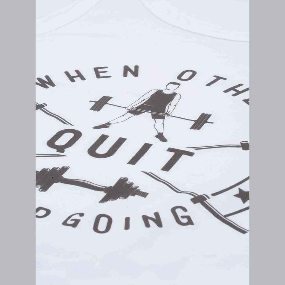 Quit White Sleeveless T-Shirt - Bushirt