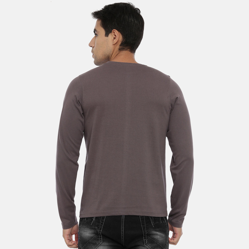 Pebble Grey Full Sleeves Solid T-Shirt