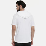 White Half Sleeves Hoodies - Bushirt