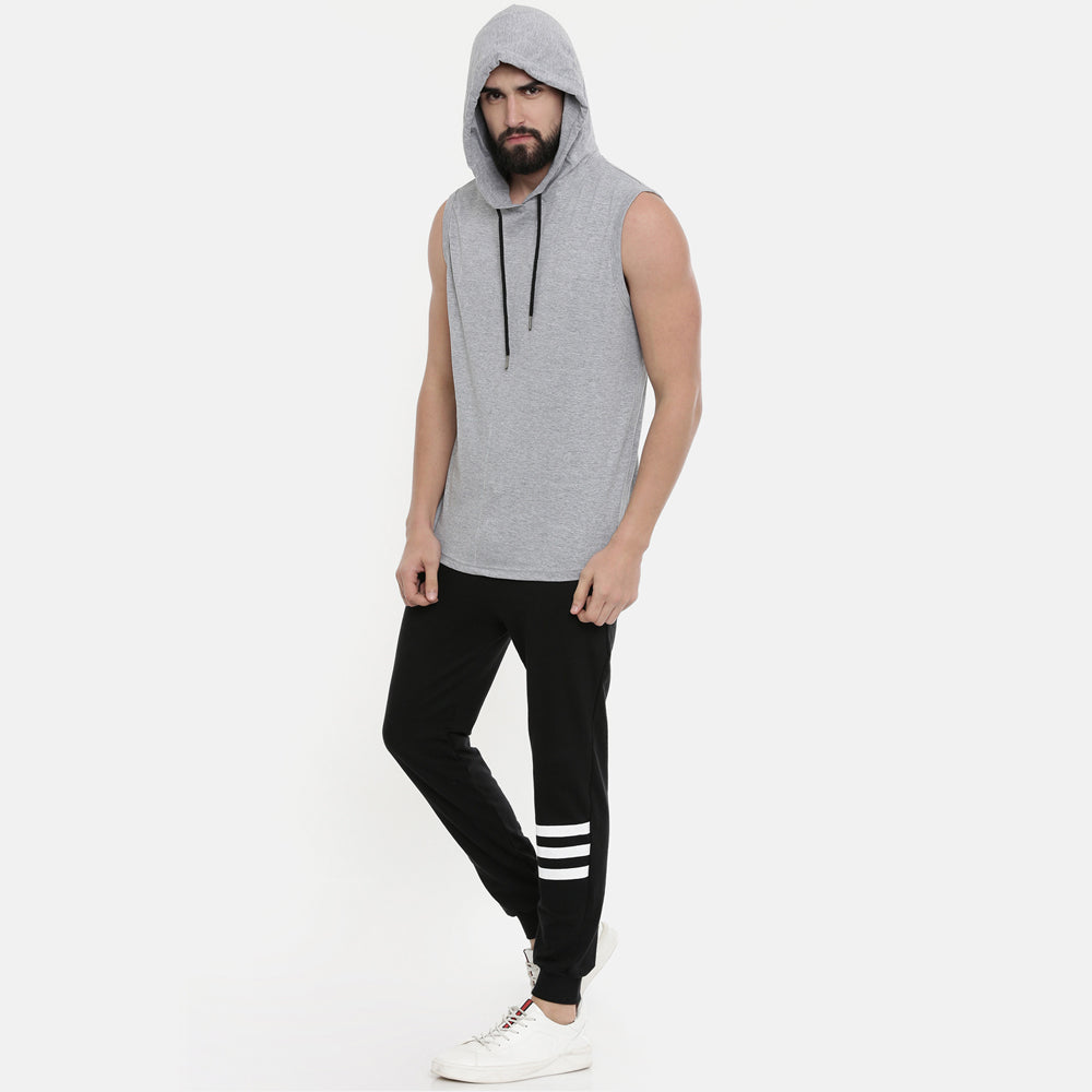 Millange Grey Sleeveless Hoodies