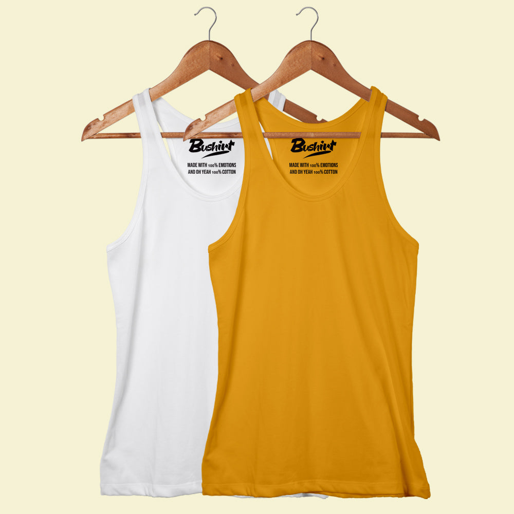 White - Mustard Sleeveless T-Shirt