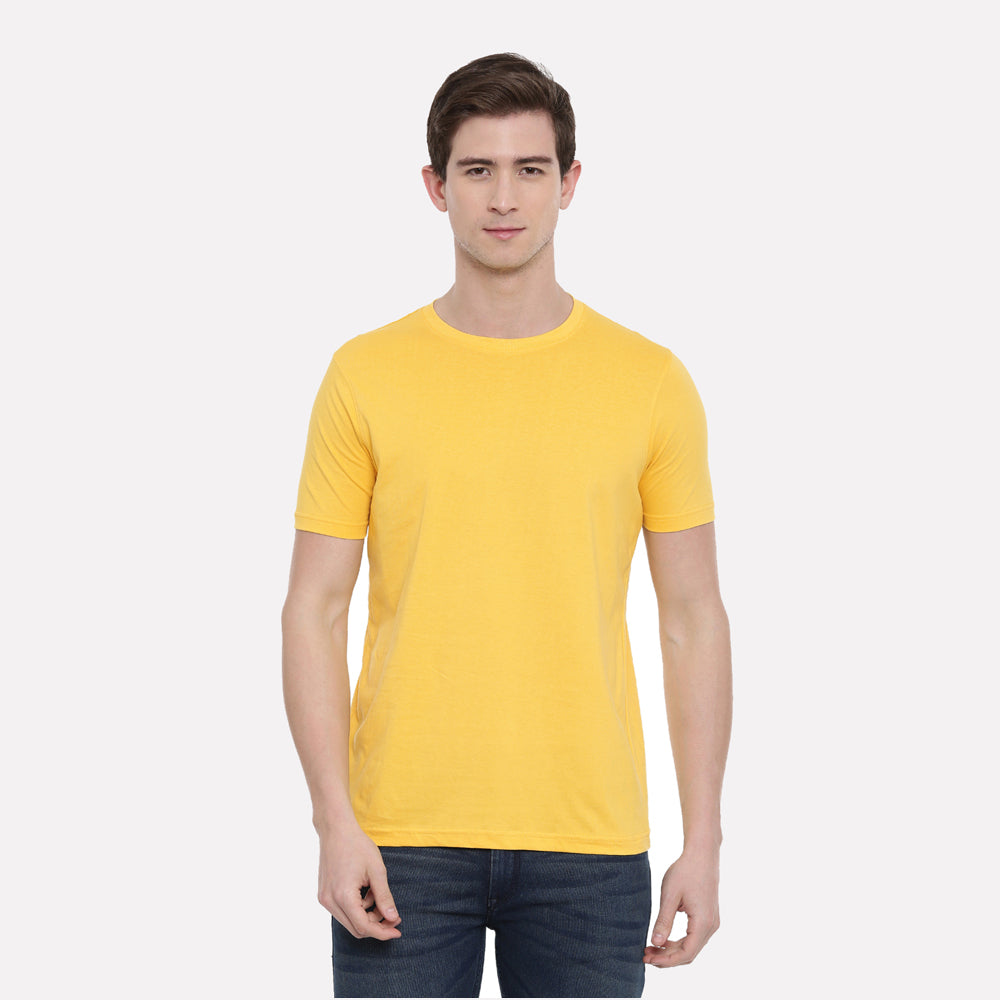 Yellow - Red Plain Half Sleeves T-Shirt