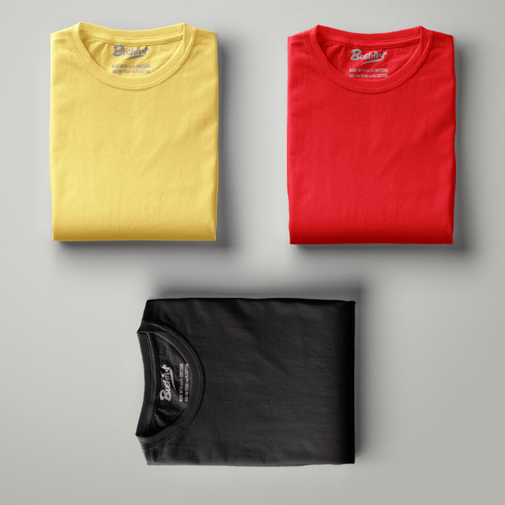 Yellow - Red - Black Solid Half Sleeves T-Shirt