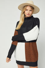 Back View of Black White and Brown Color Block Sweater Dress