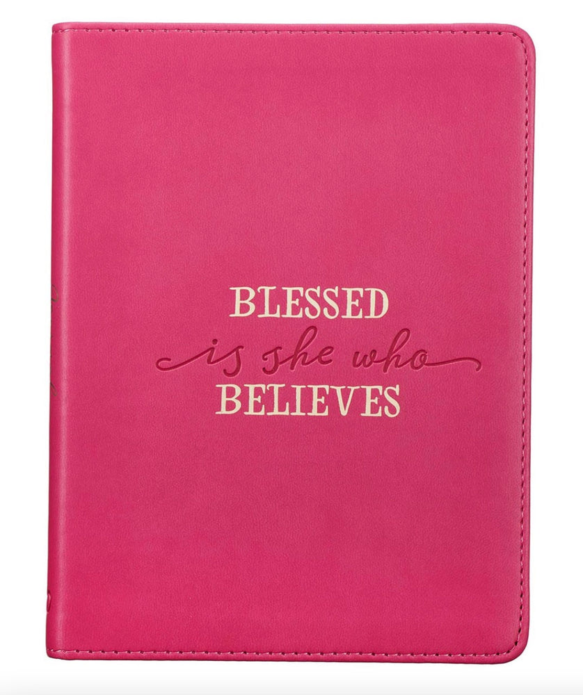 Blessed is She Who Believes Journal, Dark Pink Lux Leather