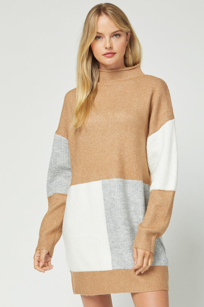 Evelyn Sweater Dress- Camel Colorblock