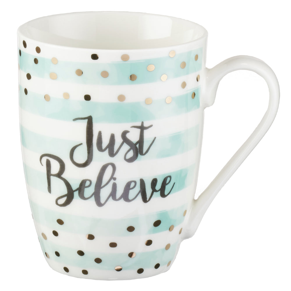 "Back View of Light Blue And White Striped Mug With Gold Polka Dots and Black ""Just Believe"" Lettering"