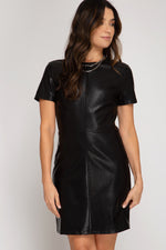Back in Black Faux Leather Dress