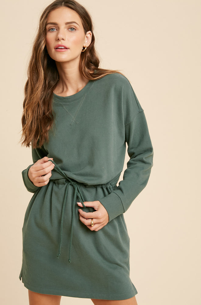 Back View of Sage Green Relaxed Fit Long Sleeve Drawstring Waist Dress with Side Pockets