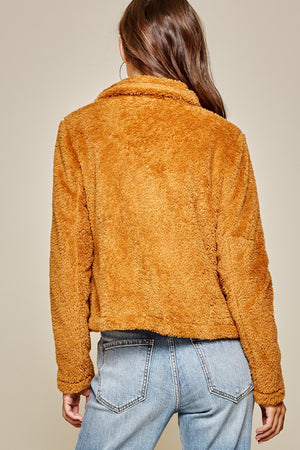 Load image into Gallery viewer, Back of Orange Fluffy Zip Up Teddy Coat