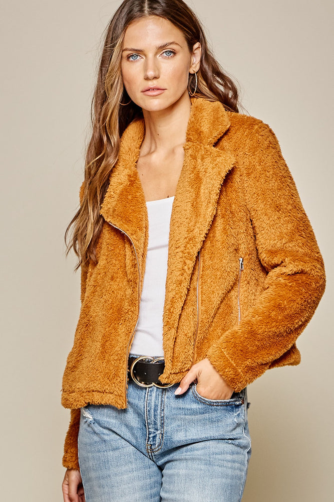 Load image into Gallery viewer, Orange Fluffy Zip Up Teddy Coat with Collar